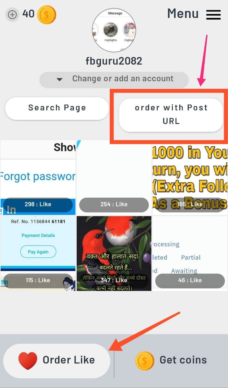 Order Likes With Post URL